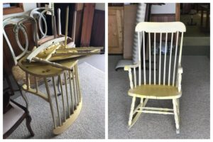 Broken Vintage Chair Before and After